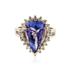 14KT Rose Gold 5.10 ctw Tanzanite and Diamond Ring
