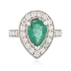 14KT White Gold 2.12 ctw Emerald and Diamond Ring