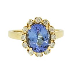 14KT Yellow Gold 2.92 ctw Tanzanite and Diamond Ring
