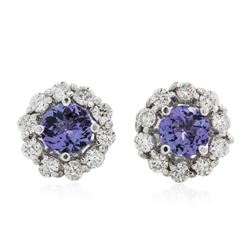 14KT White Gold 2.40 ctw Tanzanite and Diamond Earrings