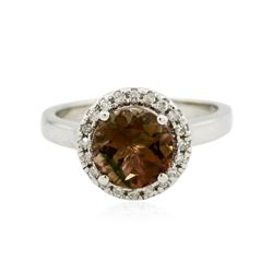 14KT White Gold 1.97 ctw Brown Tourmaline and Diamond Ring