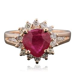 14KT Rose Gold 1.55 ctw Ruby and Diamond Ring