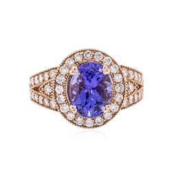 14KT Rose Gold 3.66 ctw Tanzanite and Diamond Ring