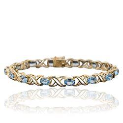 10KT Yellow Gold 12.00 ctw Blue Topaz Bracelet