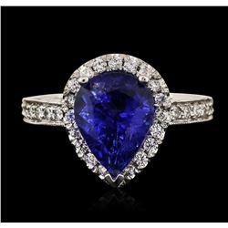 14KT White Gold 3.14 ctw Tanzanite and Diamond Ring