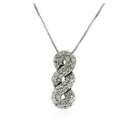 14KT White Gold 0.84 ctw Diamond Pendant With Chain