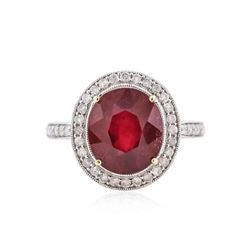 14KT Yellow Gold 6.18 ctw Ruby and Diamond Ring