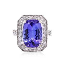 14KT White Gold GIA Certified 7.49 ctw Tanzanite and Diamond Ring