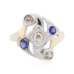 14KT Two-Tone Gold 0.50 ctw Sapphire and Diamond Ring