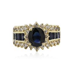 14KT Yellow Gold 3.00 ctw Sapphire and Diamond Ring