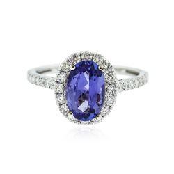 18KT White Gold 1.69 ctw Tanzanite and Diamond Ring