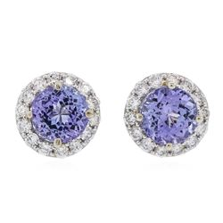 14KT White Gold 3.06 ctw Tanzanite and Diamond Stud Earrings