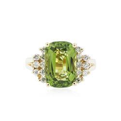 14KT Yellow Gold 4.92 ctw Peridot and Diamond Ring