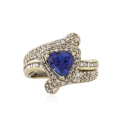 18KT White Gold 1.55 ctw Tanzanite and Diamond Ring