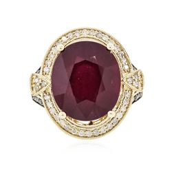 14KT Yellow Gold 13.80 ctw Ruby and Diamond Ring
