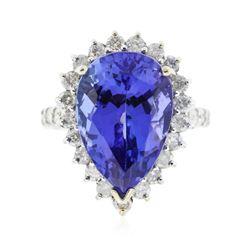 14KT White Gold 9.90 ctw GIA Certified Tanzanite and Diamond Ring