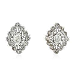 14KT White Gold 1.34 ctw Diamond Earrings