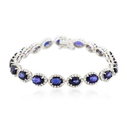 14KT White Gold 13.49 ctw Sapphire and Diamond Bracelet