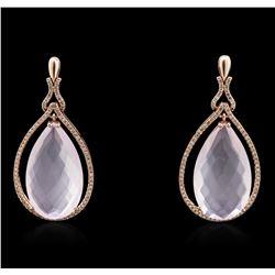 14KT Rose Gold 35.17 ctw Pink Quartz and Diamond Earrings