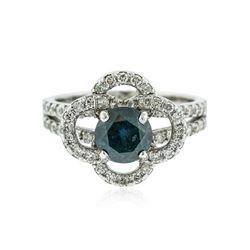 14KT White Gold 1.63 ctw Blue Diamond Ring
