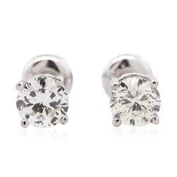 14KT White Gold 0.94 ctw Diamond Solitaire Earrings