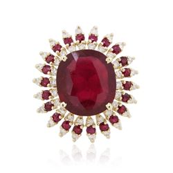 14KT Yellow Gold 14.11 ctw Ruby and Diamond Ring