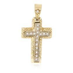 14KT Yellow Gold 0.24 ctw Diamond Cross Pendant