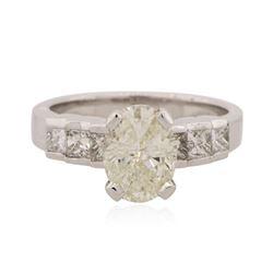 Platinum 2.81 ctw Oval Cut Diamond Ring
