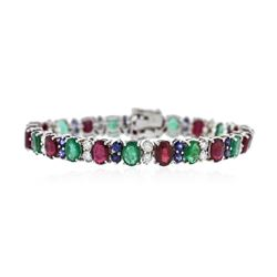 14KT White Gold 13.20 ctw Emerald, Ruby, Sapphire and Diamond Bracelet