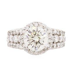 14KT White Gold EGL Certified 4.02 ctw Diamond Ring