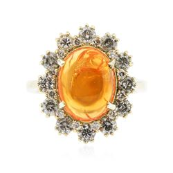 14KT Yellow Gold 4.17 ctw Opal and Diamond Ring