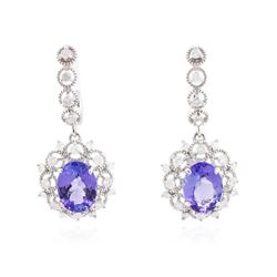 14KT White Gold 4.88 ctw Tanzanite and Diamond Earrings
