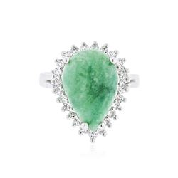 PLATED SILVER 6.18 ctw Emerald and White Topaz Ring