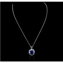 14KT White Gold 14.44 ctw Sapphire and Diamond Pendant With Chain