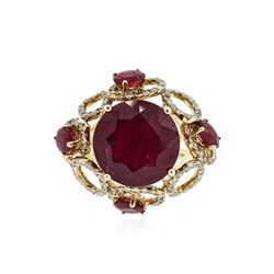 14KT Yellow Gold 11.46 ctw Ruby and Diamond Ring