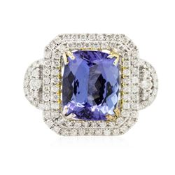 14KT Two-Tone Gold 5.37 ctw Tanzanite and Diamond Ring