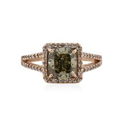 14KT Rose Gold 2.63 ctw Fancy Green Diamond Ring