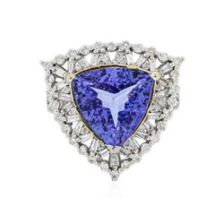 14KT Two-Tone Gold 6.65 ctw Tanzanite and Diamond Ring