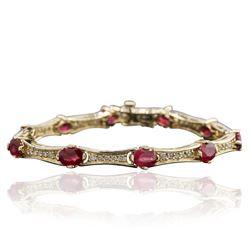 14KT Yellow Gold 9.09 ctw Ruby and Diamond Bracelet