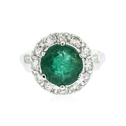 14KT White Gold 2.37 ctw Emerald and Diamond Ring