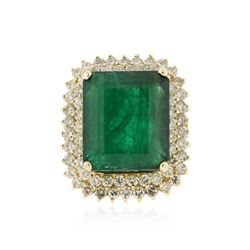 14KT Yellow Gold GIA Certified 25.52 ctw Emerald and Diamond Ring