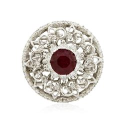 14KT White Gold 1.80 ctw Ruby and Diamond Ring