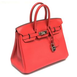 Authentic Vintage Hermes 25cm Birkin Bag in Red Epsom Leather from the Candy Col