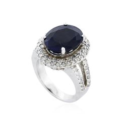 14KT White Gold 9.80 ctw Sapphire and Diamond Ring