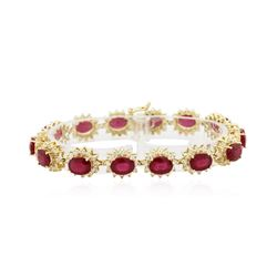 14KT Yellow Gold 21.45 ctw Ruby and Diamond Bracelet