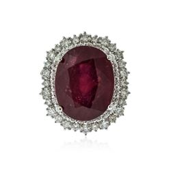 14KT White Gold 13.51 ctw Ruby and Diamond Ring