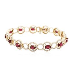 14KT Yellow Gold 6.24 ctw Ruby and Diamond Bracelet