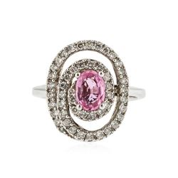 14KT White Gold 0.96 ctw Pink Sapphire and Diamond Ring