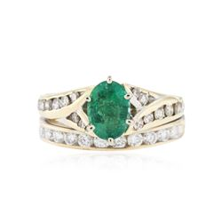 14KT Yellow Gold 1.00 ctw Emerald and Diamond Ring