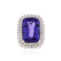 14KT White Gold GIA Certified 26.74 ctw Tanzanite and Diamond Ring